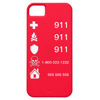 Red Emergency Numbers iPhone 5 Case