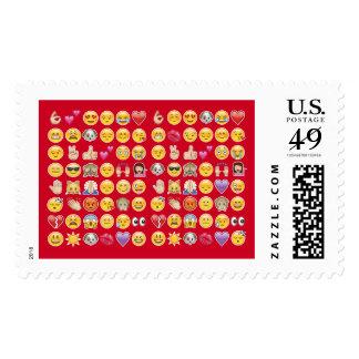 red emoji postage postal stamps