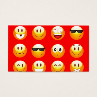 red emojis business card