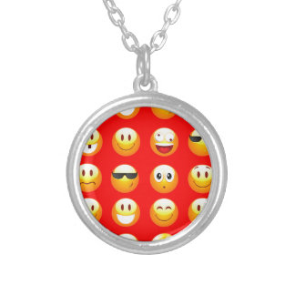 red emojis silver plated necklace