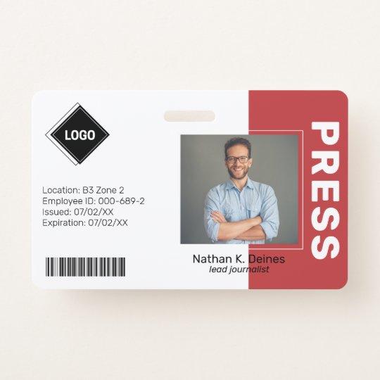 Red | Employee Photo ID Company Security Badge | Zazzle.com