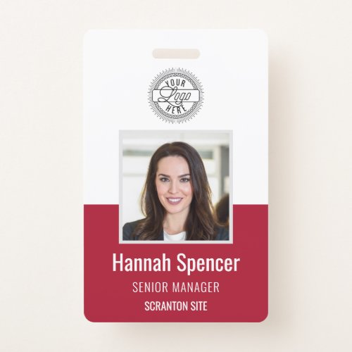 Red | Employee Photo ID Company Security Badge