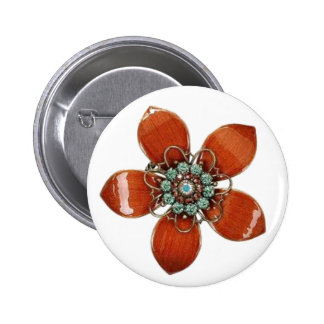 Red Enamel and Aquamarine Pin