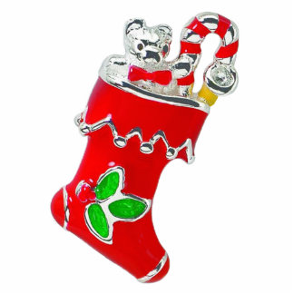 Red Enameled Christmas Stocking Pin Photo Sculpture Button