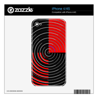 Red Energy Chakra - Silver n Black Streaks Decal For The iPhone 4S
