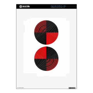 Red Energy Chakra - Silver n Black Streaks Skins For iPad 2
