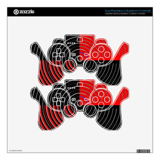 Red Energy Chakra - Silver n Black Streaks Skins For PS3 Controllers