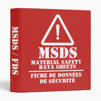 Red English and French MSDS / FDS 3 Ring Binder
