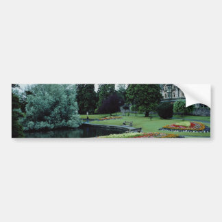 Red English country garden, England flowers Bumper Stickers