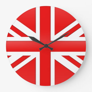 Red English Flag Large Clock