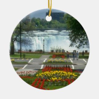 Red Entrance to the Falls, Niagara Falls flowers Ceramic Ornament