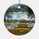 Red Entrance to the Falls, Niagara Falls flowers Double-Sided Ceramic Round Christmas Ornament