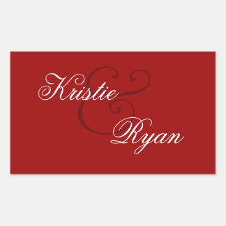 Red Envelope Seal Wedding Rectangular Sticker