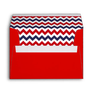 Red Envelope With Red White Blue Chevron Print