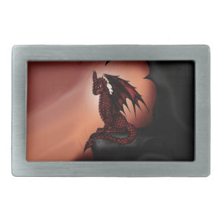 red epic Dragon Rectangular Belt Buckle