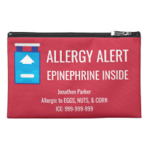 Red Epinephrine Inside Allergy Alert Custom Kids Travel Accessory Bag