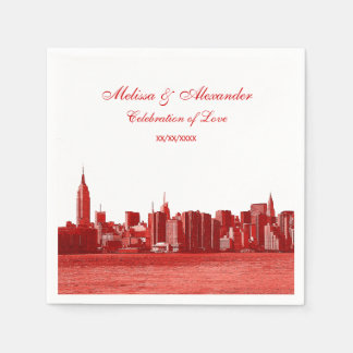 Red Etched Look NYC Skyline Silhouette, ESB #1 Disposable Napkins
