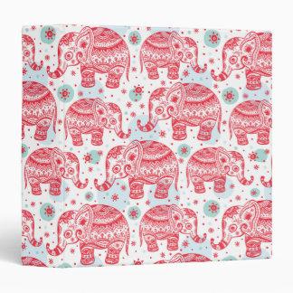 Red Ethnic Elephant Pattern Vinyl Binder