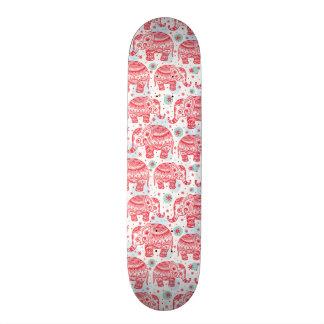 Red Ethnic Elephant Pattern Skateboard