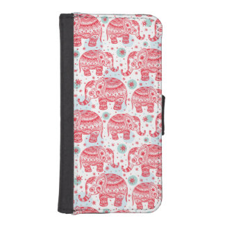 Red Ethnic Elephant Pattern Wallet Phone Case For iPhone SE/5/5s