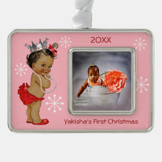 Red Ethnic Princess Baby First Christmas Photo Silver Plated Framed Ornament