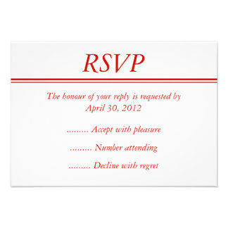 Red Event RSVP, Reply or Response Card Invite