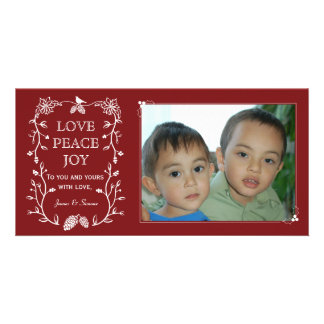 Red Evergreen Christmas Holiday Photo Card