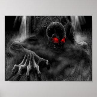 red evil eyes poster