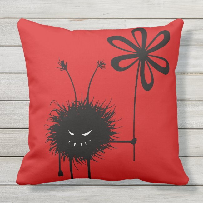 Red Evil Flower Bug Gothic Outdoor Pillow
