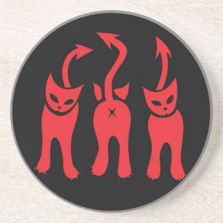 Red Evil Kitty Coaster