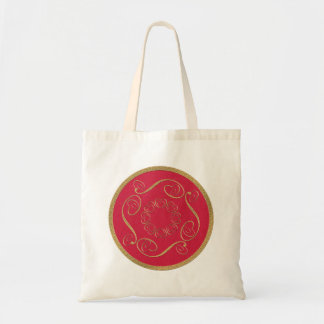 Red examined tote bag