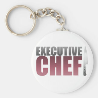 Red Executive Chef Basic Round Button Keychain