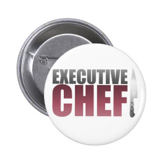 Red Executive Chef Pinback Button