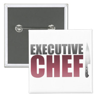 Red Executive Chef Pinback Buttons