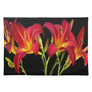 Red Exotic Garden Flowers Elegant Romantic gifts Cloth Placemat