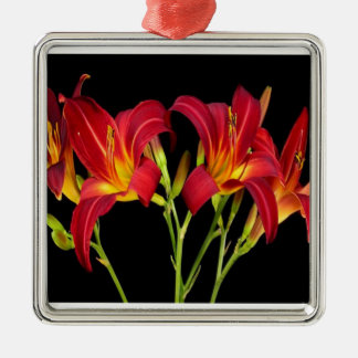 Red Exotic Garden Flowers Elegant Romantic gifts Square Metal Christmas Ornament