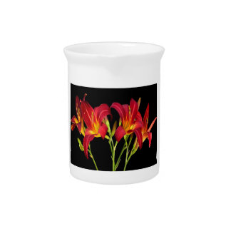Red Exotic Garden Flowers Elegant Romantic gifts Pitcher