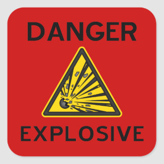 Red Explosive Warning Sign Sticker