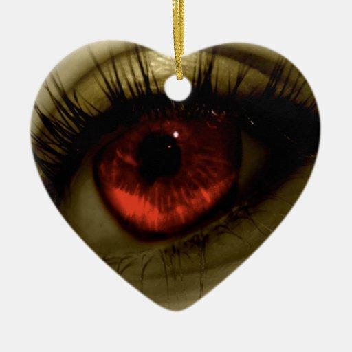 Red Eye fresco abstracto Adorno Navideño De Cerámica En Forma De Corazón