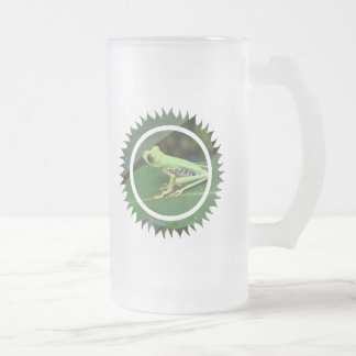Red Eye Green Tree Frog Frosted Beer Mug