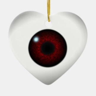 red eye heart ceramic ornament