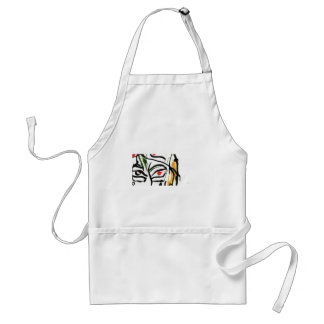 red eye inked face apron