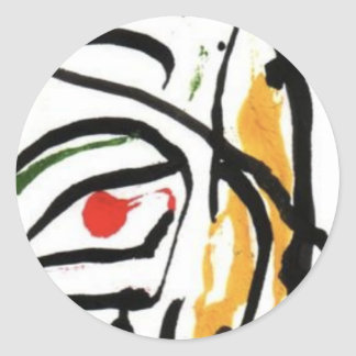 red eye inked face classic round sticker