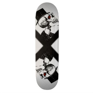 Red Eye Preacher Skeleton Skate Board
