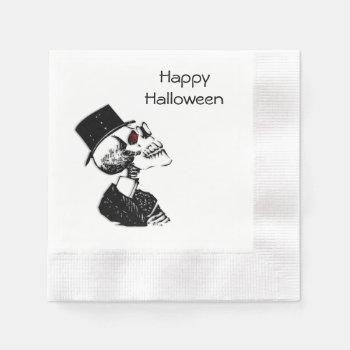 Red Eye Skeleton Halloween Napkin