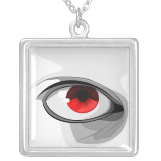 Red Eye Square Pendant Necklace