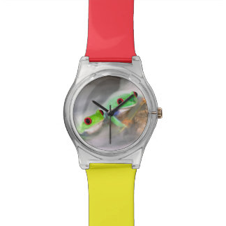 Red Eye Treefrog in the mist, Agalychinis 2 Wristwatch
