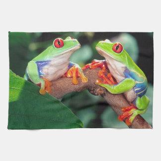 Red Eye Treefrog Pair, Agalychinis callidryas, Hand Towel