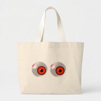 red eyeballs large tote bag