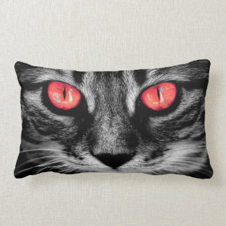 Red Eyed Cat Close Up Photo Portrait Lumbar Pillow